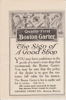 Free Vintage Clipart, Vintage Magazine Ads and Vintage Artwork Perfect for Home & Man-Cave Decor: Vintage 1918 Boston Garter Shop The George Frost Co Boston, MA Original Print Ad