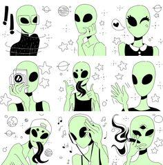 Amazing Drawings, Beautiful Drawings, Cute Drawings, Arte Alien, Alien Art, Rocket Tattoo, Tumblr Pattern, Alien Drawings, Grunge Art