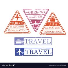 Ship and airplane travel stamps in triangular and vector image on VectorStock Greece Art, Travel Stamp, Travel Tickets, Bullet Journal Lettering Ideas, Passport Stamps, Airplane Travel, Silhouette Vector, Body Mods, Ephemera