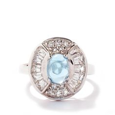 Swiss Blue Topaz Ring with White Topaz in Sterling Silver 3.08cts