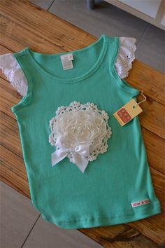 Girls Size 2 & 3 Mint Green Vintage Rosette Doily Singlet