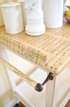 Decoupage music sheet tea cart. You can customize and use this technique on any piece of furniture or decor item!