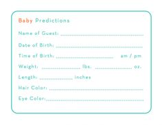 Baby Shower game: stat predictions