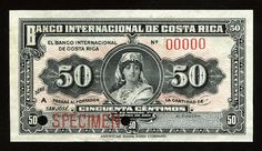 Currency of Costa Rica 50 Centimos Banknote issued by the Banco Internacional de Costa Rica, 1918