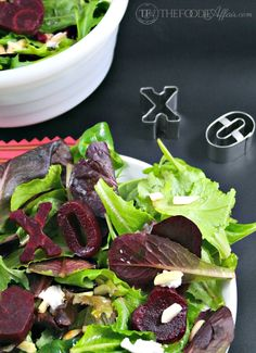 Roasted Beet Salad with Goat Cheese tossed with a light vinaigrette! Make this simple salad extraordinary by shaping sliced beets into XO and heart shapes!