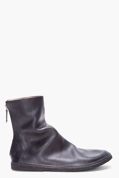 MARSÈLL Black Leather Strapara Boots