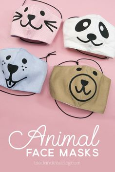Not only are these Animal Face Masks super cute but they also help kids transition to wearing masks when out in public. Tutorial includes free SVG file! Animal Masks For Kids, Face Masks For Kids, Animals For Kids, Animal Face Mask, Animal Faces, Diy Mask, Diy Face Mask, Face Diy, Super Cute Animals