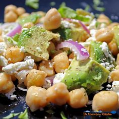 It only takes 5-minutes to make this delicious high protein, high fiber chickpea avocado salad. This is a vegetarian salad recipe that's full of fresh and healthy ingredients, perfect for a super healthy Meatless Monday lunch or a side dish to share at a weekend picnic or potluck!