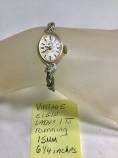 Vintage Ladys Elgin Hand Wind Wristwatch With Cord Band Running Vintage Watches Women, Watches For Men, Vintage Ladies, Vintage Mickey Mouse, Stretch Bands, Watch Necklace, Hamilton, Cord, Running