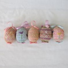Hand Smocked Easter Egg Ornaments.  Tulips Easter Eggs.   5 Smocked Spring Ornaments.  Lavender Pink Blue on Etsy, $20.00