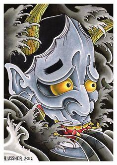Hannya Mask by Ryan Ussher Japanese Tattoo Art, Japanese Tattoo Designs, Japanese Sleeve Tattoos, Oni Mask Tattoo, Hanya Tattoo, Yakuza Tattoo, Japan Design, Hannya Samurai, Japanese Oni Mask