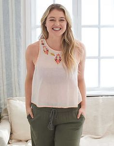 Aerie Embroidered Tank , South Peach | Aerie for American Eagle
