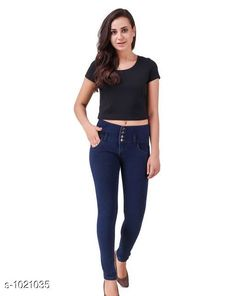 Jeans Trendy Stylish Women's Jean  *Fabric* Poly Cotton Lycra  *Waist Size* S- 28 in, M- 30 in, L- 32 in, XL- 34 in , XXL - 36 in  *Length* Up To 40 in  *Type* Stitched  *Description* It Has 1 Piece Of Women's Denim Jean  *Work* Solid  *Sizes Available* 28, 30, 32, 34, 36 *    Catalog Name: Alyssa Trendy Stylish Women's Jeans Vol 2 CatalogID_123176 C79-SC1032 Code: 504-1021035-