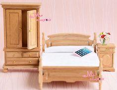 * 1:12 Dollhouse Miniature Oak Wood White Bedroom Bed Sidestand Wardrobe 3PCS