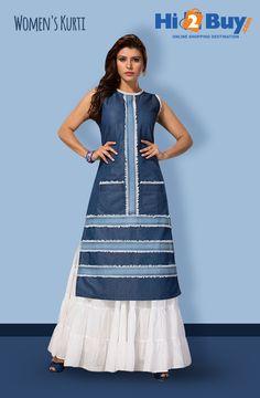 Women's Regular Fit Blue Denim Kurti on Hi2Buy.com. #Hi2buy #Kurti #OnlineShoppingDestination