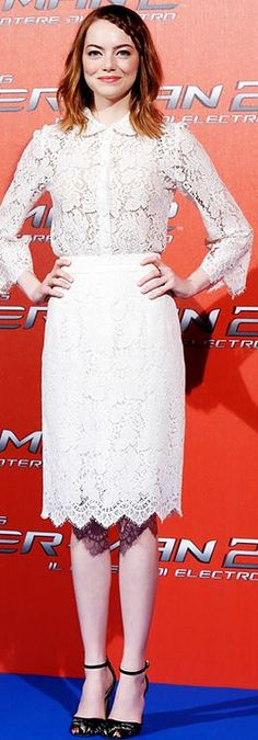 Who made  Emma Stone's white collar lace top and scallop lace skirt?