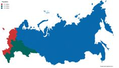 - Russia divided into three areas with equal population