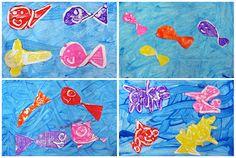 peinture aux doigts, poissons découpés