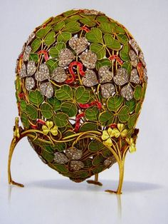 The Clover Leaf Egg was created in 1902 for the wife of Nikolay II. The surprise in the egg has been lost but according to archives it is reported to be a four leaf clover with twenty three diamonds, and four miniature portraits of the four daughters of the Tsar: Olga, Tatiana, Maria, and Anastasia. The egg was a symbol of a happy marriage of Nikolay.The egg is currently held in the Kremlin Armoury Museum in Moscow, and it is one of the few Fabergé eggs that have never left Russia.
