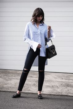 The striped shirt has long been a favourite of mine, and constantly on rotation in my weekday to weekend wardrobe. Whether it's a simple t-shirt or a button-front with exaggerated cuffed sleeves, you can't go wrong with a good stripe. Add a pair of soft, skinny denim, go-everywhere loafers and a sleek bag, like this beauty from J.W.Anderson, and you have my new favourite easy, everyday look. - Wearing - Whiteless Shirt | J Brand Jeans | Gucci Loafers | J.W.Anderson Bag Photos by Ro...