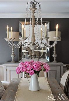 Elegant Grey Dining Room and Colorful Peonies