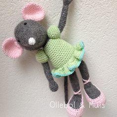 Gehaakte muis Muis speelgoed knuffel muis Angelina door Ollebol