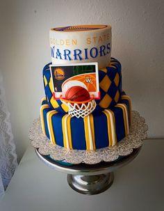 Basketball cake. Golden state warriors. Blue and yellow. Wonderland Cakery