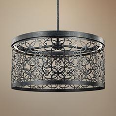 "Feiss Arramore 19""W LED Dark Zinc Outdoor Hanging Light"