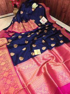Dark Midnight Blue Color 8 in Broad Border Katan Banarasi Saree Bengali Wedding, Saree Wedding, Fancy Sarees Party Wear, Maroon Saree, Midnight Blue Color, Tussar Silk Saree, Saree Shopping, Wedding Fabric, Buy Sarees Online