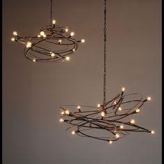 Nebulla: Sculptural steel chandelier - think reclaimed christmas light strands and found wire! Dining Room Lighting, Home Lighting, Lighting Design, All Of The Lights, Custom Lighting, Chandelier Lighting, Unique Chandelier, Outdoor Chandelier, Lamp Design