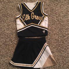 Used Elk Grove Cheerleader Uniform Navy Met Gold White 23 Cheerleader Halloween Costume, Cheer Costumes, Themed Halloween Costumes, Custom Cheer Uniforms, Cheerleading Uniforms, Football Cheerleaders, Cheer Outfits, Summer Outfits, Kids Costumes Girls