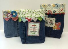 Embellish Them However You Like! The legs from old jeans form the body of these handy baskets. The baskets are so charming and a bit addictive to make so gather up old jeans and have fun making… Jean Crafts, Denim Crafts, Fabric Crafts, Sewing Crafts, Sewing Projects, Craft Projects, Recycle Jeans, Upcycle, Basket Crafts