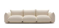 The sofa features a revolutionary system to assemble seat and armrest cushions to the base. The cushions are simply put into a metal tubular frame which grants rigidity and resistance to the use of the sofa. Base in multi plywood with fibre cover.