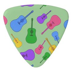 Colorful Guitars Collage Guitar Picks Guitar Pick. This colorful design is printed on both sides. The background color can be customized if you like. You can choose the triangle shape, (shown), or the standard shape. From CherylsArt at Zazzle.