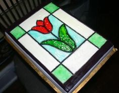 Tulip Stained Glass Cake - FINITO!!! Had some spare piping gel and was able to finish today...I need to refine my brushstrokes, but it was fun doing this for the very first time!  WooHoo!!!