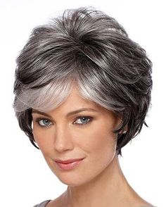 Brand: Estetica Designs Pure Stretch Cap WigsType of Hair: SyntheticHead Size: Average Approx. Hair Length: Bang - Side - Crown - Nape - Weight: ozColor(s) Shown on… Grey Hair Wig, Short Grey Hair, Short Hair Cuts, Long Hair, Pixie Cuts, Easy Hairstyles For Medium Hair, Short Hairstyles For Women, Wig Hairstyles, Female Hairstyles