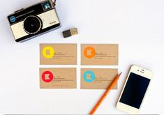 10 creative business card designs.  Design by: One Plus One Design for Kamp Photography  Simple bright logos on brown craft paper