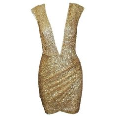 Posh Girl Gold V-Neck Sequins Mini Dress ($118) ❤ liked on Polyvore featuring dresses, gold sequin cocktail dresses, v neckline dress, v-neck dresses, short dresses and short sequin dress