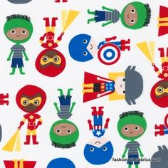 Fabric... Super Kids Super Heroes in Primary by Robert Kaufman Fabrics