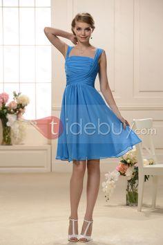 Aラインスクエアネック膝丈ブライズメイドドレス