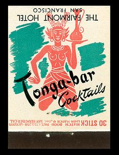 1950s matchbook from the Tonga Bar, San Francisco
