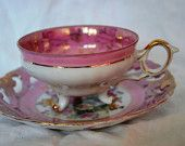 Vintage Lusterware footed tea cup white and pink with roses , Tea cup and saucer in porcelain from  Japan