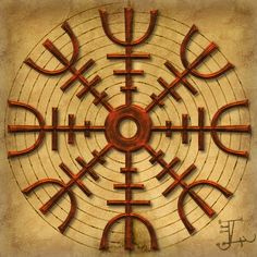 Aegishjalmur by Tom Butler. The Helm of Awe, a type of rune stave, is magical spell of protection used by early Vikings. According to a number of legends, this apotropaic (protective) symbol, when worn between the eyes, was intended to confer invincibility in the wearer or instill fear in one's enemies. The earliest mention of the aegishalmer is in the Eddas, although pictorial representations only date from around medieval times. Today, it is used as a charm of protection by Asatru…
