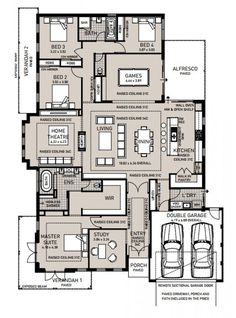Floor plan friday: raised ceiling, double-sided fireplace, g 4 Bedroom House Plans, House Layout Plans, Family House Plans, Dream House Plans, Modern House Plans, House Layouts, House Floor Plans, Dream Houses, The Plan