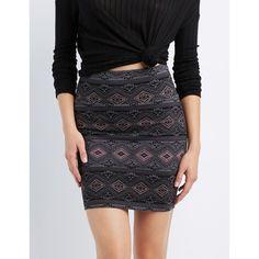 Charlotte Russe Printed Bodycon Mini Skirt ($5) ❤ liked on Polyvore featuring skirts, mini skirts, black multi, short skirts, high-waist skirt, pencil skirt, patterned pencil skirt and bodycon pencil skirt