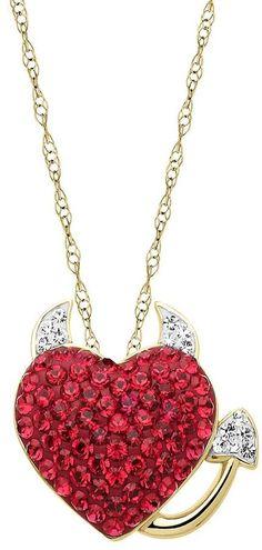 b66de47e1e1f Artistique crystal 18k gold over silver devil heart pendant necklace - made  with swarovski elements Heart