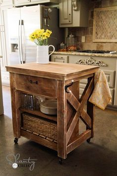 diy rustic kitchen island kitchen island cart build a rustic x small rolling kitchen island free and easy Home Kitchens, Wood Kitchen, Rustic Kitchen, Kitchen Remodel, Kitchen Design, Kitchen Decor, Rustic Kitchen Island, Diy Kitchen, Kitchen Island Cart
