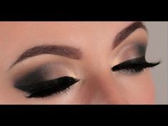 Super clear instruction for a smoldering smokey eye with a really vampy winged eye. #makeup