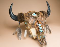 Native Art Buffalo Skull Hanging 24x25 -Creek (PS13) - Mission Del Rey Southwest