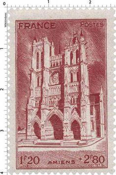 France Stamp - Cathédrale d'Amiens (1944)